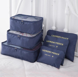 Types Set Clothes Australia - Packing Cube Travel Bag System Durable 6 Pieces Set Large Capacity Of Bags Unisex Clothing Sorting Organize Wholesale