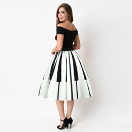 China midi Skirt faldas mujer moda 2019 Women Piano Keys Printed Skirt High Waist Thin tulle d90524 supplier piano print suppliers