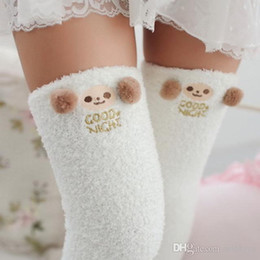 5d84c81cd3f Japanese Mori Girl Animal Modeling Knee Socks Striped Cute Lovely Kawaii  Cozy Long Thigh High Socks Compression Winter Warm Sock