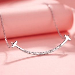 wholesale metal chokers UK - New Fashion Choker Necklaces for Girl Women Metal Jewelry Smile Chocker Pendant Crystal Copper Jewellery Korean Style Trendy