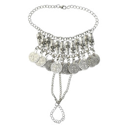 $enCountryForm.capitalKeyWord UK - Silver Metal Festival Coin Tassel Bracelets for Women Bohemian Gypsy Tribal Beach Party Jewelry Gifts