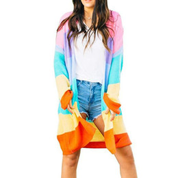 c14aa47e9a1 2019 Women Spring Long Sleeve Open Front Sweater Cardigan Rainbow Striped Color  Block Drape Oversize Knitwear Coat With Pockets