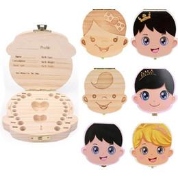 $enCountryForm.capitalKeyWord Australia - Fallen Tooth Box Storage English Spanish Baby Boy Girl Wood Case Save Milk Teeth Collection Organizer