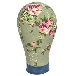 $enCountryForm.capitalKeyWord Australia - Pink Flower Canvas Block Manikin Mannequin Head Model For Hair Extension Toupee Lace Wig Making Styling Cap Display Stand