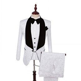 white gold groom tuxedos UK - New Style Groom Tuxedos One Button Groomsmen Shawl Black Lapel Best Man Suit Wedding Men Suits Bridegroom ( Jacket+Pants+Vest+Tie ) A66