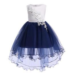 $enCountryForm.capitalKeyWord Australia - New Girls Flower Tails Evening Princess Dresses Kids Party Clothes Baby Girls Elegant Clothing White Blue Dress for 100-150cm