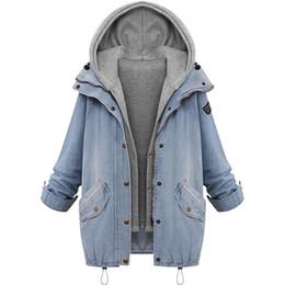 $enCountryForm.capitalKeyWord Australia - Hooded Drawstring Boyfriend Trends Jean Swish Pockets Two Piece Coat 2019 Blue Long Sleeve Single Breasted Denim Jacket Outwear