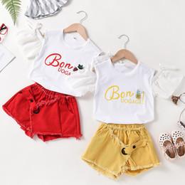 $enCountryForm.capitalKeyWord Australia - Girls suit summer fashion Korean cotton jeans skirt shorts children's two-piece children's wear a generation Girls t-shirts and shorts