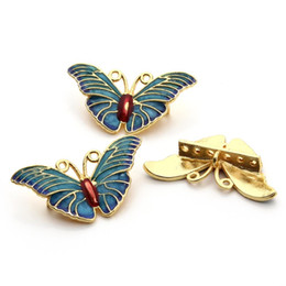 Discount floating charm gold - 3pcs lot 15x30mm Gold Color Metal Butterfly Floating Charm Breloques Handmade Charms Necklace Pendant Jewelry F3279