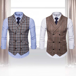 $enCountryForm.capitalKeyWord NZ - Business Men Casual Plaid Pattern Double-breasted Sleeveless Formal Waistcoats Dress Suit Vest Presents for men