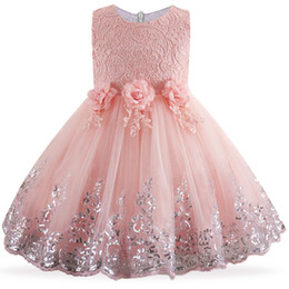 Red White Blue Tutus UK - 2019 Toddler Girl Dresses Lace Sequins Formal Wedding Gown Tutu Princess Dress Flower Children Kids Party Dress For Girl Clothes