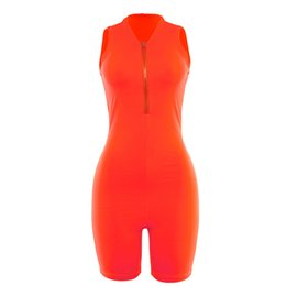 Fitness Suit Women UK - in stock Fluorescence Color Jumpsuits Shorts Sleeveless with Zipper Elastic Sport Fitness Suits Women Fashion Sport Suits