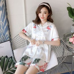 $enCountryForm.capitalKeyWord Australia - summer Short Sleeve Pajamas Silk Set 2 Pcs Set Women Sleepwear Sexy Nightwear female elegant cartoon print Sleepwear Short Pants
