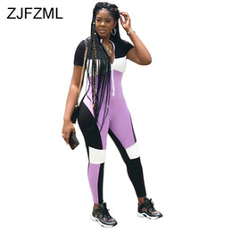 Plus Size One Piece Skinny Jumpsuits Australia - Color Block Patchwork Skinny Jumpsuit Women Front Zipper Short Sleeve Plus Size Romper Streetwear Deep V Neck One Piece Catsuit
