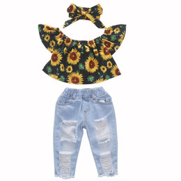 clothing boutique suits Australia - Hot Sale Baby INS Sunflower Suits Kids Toddler Infant Casual Sleeveless T-shirt +Denim Pant +Headband 3pcs sets Girl clothes Set Boutique