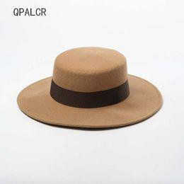 474ea410a5f QPALCR Autumn Winter Mens Panama Hats For Women Fedoras Hat Vintage Girls  Felt Fedora Flat Top Jazz Hat Black Chapeau Cap