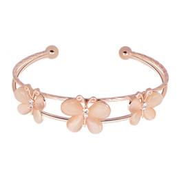 Wear Bracelet Australia - New Pattern Rose Golden Butterfly Ornaments Women's Style Minimalism Wear Bracelet Crystal Hand Ornament Gift