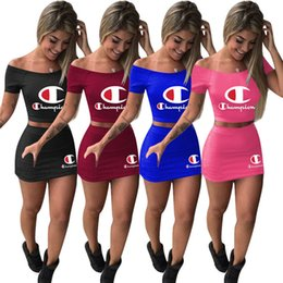 Burgundy tracksuits online shopping - Brand Champions dress suit Women Designer crop top T shirt mini Skirt tracksuit Two Piece Outfits Summer Letter Print Clothing A3152