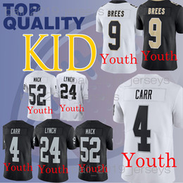 17c792848 Kids New Orleans jerseys Saints Drew 9 Brees 52 Khalil Mack Marshawn 24  Lynch Derek 4 Carr boy clothes