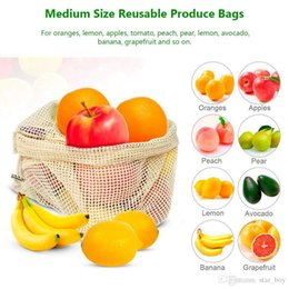 bags for vegetables Australia - Reusable Produce Mesh Bags Washable Organic Cotton Mesh Vegetables Bag Cotton Storage Bags Biodegradable Grocery Bags Breathable For Fruits
