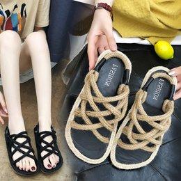 472f54d7e Rope Sandals Australia - Women Flat Shoes Sandals Ladies Nylon Rope Flip  Flops Sandal Summer sandalias