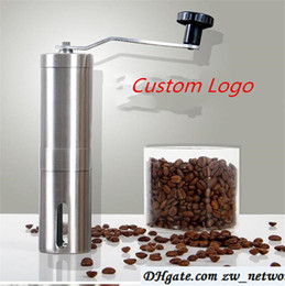 Chinese  Custom Logo! Coffee Grinder Bean Mills Manual Stainless Steel Portable Kitchen Grinding Tools Perfumery Cafe Bar Handmade coffee mills manufacturers