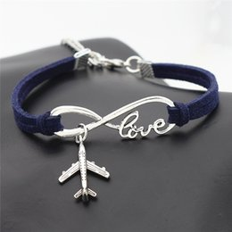 $enCountryForm.capitalKeyWord NZ - New Dark Navy Leather Suede Bracelets Bangles for Women Men Infinity Love Airplane Aircraft Wristband Cuff Ethnic Vintage Charm Jewelry Gift