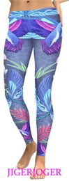 bird leggings Australia - JIGERJOGER Dark Blue Dragonfly birds lotus 3D digital print Plus size women's YOGA Leggings manufacturers wholesale drop shiping