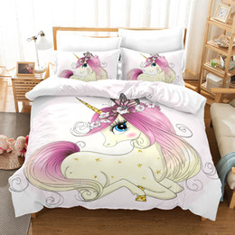 White Single Beds Australia - 3d kids bedding set single size pink Cartoon flower unicorn Duvet Cover Bed Set Bedclothes