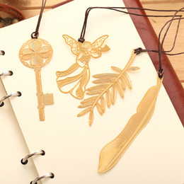 Nice statioNery online shopping - Simple Fashion Bookmark Student Mimosa Lotus Maple Leaf Clover Metal Bookmark Stationery Office School Supplies Nice Gift Free DHL