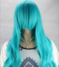 cosplay girls blue hair NZ - WIG free shipping Women Blue Fashion Long Curly Women's Girl Full Hair Wigs Cosplay Party Wigs