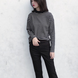 2cfd21413c2 Women s Korean version of the half-high collar striped super thin hooded bottoming  T-shirt female long-sleeved
