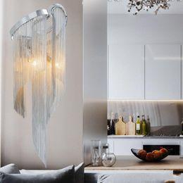 $enCountryForm.capitalKeyWord Australia - Atlantis Chain Light Modern Wall Lamp Tassel Aluminum Chain Wall Bracket Light Silver Wall Sconces Lighting Aisle Lamp Hallway Porch Lights