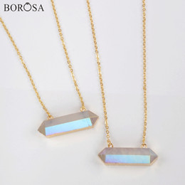 $enCountryForm.capitalKeyWord Australia - wholesale 5 10Pcs 30inch Hexagon Gold Plating White Crystal Quartz Faceted Connector AB Plating Pendant Necklace Jewelry G1868-N