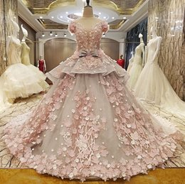 $enCountryForm.capitalKeyWord Australia - 2019 New Ball Gown Dubai Wedding Dresses With Sleeves Sexy Deep V Neck Flowers Women Non Traditional Bridal Gowns Luxury Custom Made