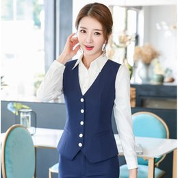 Wholesale women s formal vest for sale - Group buy Formal Women Waistcoat Vest Navy Blue Office Ladies Work Wear Business Clothes OL Styles