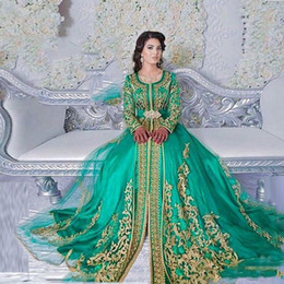 emerald green gold lace UK - New Emerald Green Muslim Prom Dresses Formal Long Sleeves Lace Applique Abaya Dubai Turkish Evening Dresses Wear Party Gowns Moroccan Kaftan