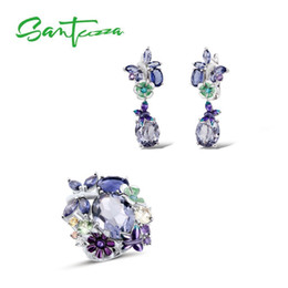 sterling silver stone handmade NZ - Santuzza Silver Jewelry Set Handmade Enamel Butterfly Purple Stones Ring Earrings 925 Sterling Silver Women Fashion Jewelry Set J 190509