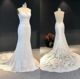Bead sweetheart mermaid wedding dress tulle online shopping - Real Image Luxury Mermaid Wedding Dresses Sweetheart Lace Sequins Beads Appliqued Beach Wedding Dress Custom Made Sweep Train Bridal Gowns