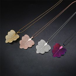 natural gold plated leaves NZ - Fashion Real Natural Leaf Pendant Necklace For Ladies Girls Special Leaves Leaf sweater Statement Jewelry Party