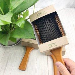 Top Qualität Natürliche Holz AVEDA Paddle Brush Brosse Club Massage Haarbürste Glatte und Glanz Haar Pinsel DHL verschiffen