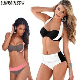 plus size sexy high waisted swimsuits NZ - Sunrainbow 2019 New Sexy Bikinis Halter Push Up Bikini Set Women Swimsuit High Waisted Bathing Suits Swim Plus Size Swimwear 4xl Y19072701
