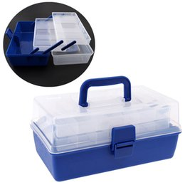 Big Transparent Boxes Australia - Blue + Transparent Portable 30*18*15cm Multifunctional 3 Layers Big Fishing Tackle Box with Durable Plastic