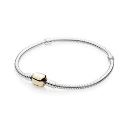 silver tone snake chain bracelet NZ - NEW 100% 925 Sterling Silver Gold 590702HG MOMENTS Two-Tone Signature Bracelet Fit DIY Charm Women Original Fashion Jewelry Gifts