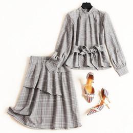 $enCountryForm.capitalKeyWord Australia - 2019 New Autumn Long Sleeve Turtleneck Tops And Sashes Blouses + Ruffles Skirts Suit Office Elegant Two Piece Set Gray