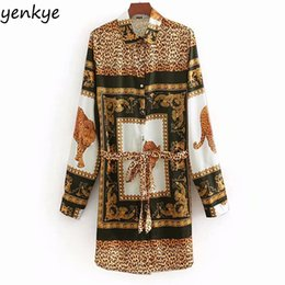 China 2019 Women Vintage Animal Print Shirt Dress Lady Turn-down Collar Long Sleeve With Belt Spring Leopard Dress Casual LYZ8506 cheap lady spring dress belt suppliers