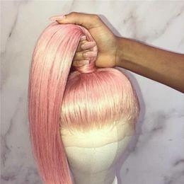 $enCountryForm.capitalKeyWord Australia - Light pink Full lace Wig Pure pink Color silky straight Human Hair Wigs virgin brazilian Remy Hair