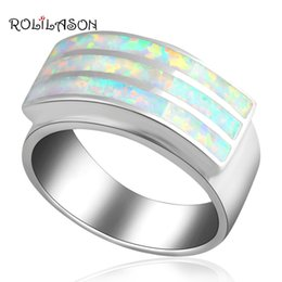 925 ring stamp 2019 - ROLILASON Anniversary design Light White fire Opal 925 Silver Stamped Rings USA size #6.5 #7 #6.75 #7.75 #8 OR435 discou