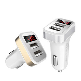 gold output Canada - Car Chargers Mini Micro Dual USB Car Charger Adapter Port 5V 2.1A for iphone 5 6 7 for samsung mp3 gps