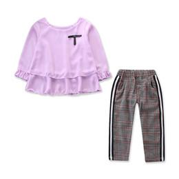 $enCountryForm.capitalKeyWord UK - Girls Sets Shirt pants Set Children Clothing Spring Autumn 2 Pieces Suit New White Pink Purple Yellow Blue